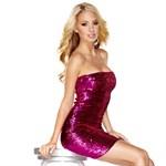 Розовое платье-бандо, расшитое пайетками - фото 1511392