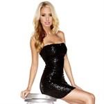 Черное платье-бандо, расшитое пайетками - фото 294622