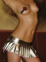 Коротенькая плиссированная юбка цвета металлик с молнией - фото 1144034