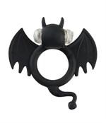 Чёрная вибронасадка на пенис Bad Bat - фото 208110