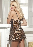 Сорочка с кружевным лифом и леопардовым принтом - фото 209794