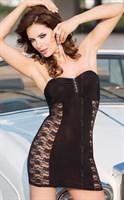 Платье без бретель со стразами на бюсте и кружевными боками - фото 8371