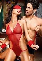 Игровой костюм  Раба любви : боди, повязка на глаза и манжеты - фото 211174