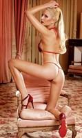 Красно-чёрный комплект белья Barbie с рюшами - фото 521731