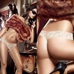 Стринги Agent Of Love бежевые из тюлевой ткани с узором в ромб и кружевными краями - фото 522576