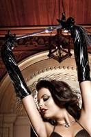Черные лаковые перчатки со шнуровкой Accessoires - фото 523023