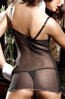 Черное платьице из тюлевой ткани с лифом на косточках, белой аппликацией и стрингами Agent Of Love - фото 523418