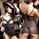 Черное платьице из тюлевой ткани с лифом на косточках, белой аппликацией и стрингами Agent Of Love - фото 523419