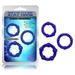 Набор из 3 синих стимулирующих колец Beaded Cock Rings - фото 8325