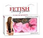 Металлические наручники Original Furry Cuffs с розовым мехом - фото 1145343