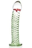 Стеклянный фаллоимитатор со спиралевидным рельефом - 16,5 см. - фото 9404