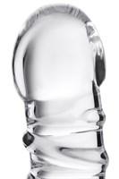 Фаллос со спиралевидным рельефом из прозрачного стекла - 16 см. - фото 88905