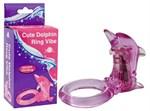 Розовое эрекционное кольцо с клиторальным стимулятором-дельфином - фото 214950