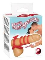 Красная рельефная насадка на пенис Funny Kangaroo - фото 210120