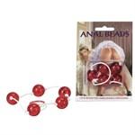Красная анальная цепочка с пятью звеньями Anal Beads - фото 1146388