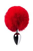 Серебристая анальная втулка TOYFA Metal с красным хвостиком - фото 1185247