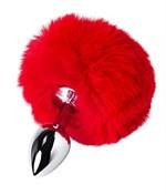 Серебристая анальная втулка TOYFA Metal с красным хвостиком - фото 1185245
