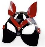 Черно-красная маска кошки из лаковой кожи - фото 1192765