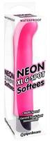 Ярко-розовый вибромассажер с загнутым кончиком XL G-Spot Softees - 16,2 см. - фото 1188698