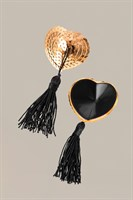 Золотистые пэстис Hearts With Tassels в форме сердец с кисточками - фото 253027