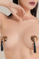 Золотистые пэстис Hearts With Tassels в форме сердец с кисточками - фото 253028