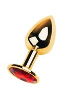 Золотистая коническая анальная пробка с красным кристаллом - 7 см. - фото 1190065