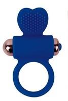 Синее эрекционное виброкольцо с сердечком - фото 1189213