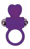 Фиолетовое эрекционное виброкольцо с сердечком - фото 253354