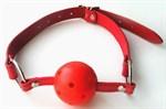 Красный пластиковый кляп-шарик Ball Gag - фото 1189504