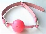 Розовый пластиковый кляп-шарик Ball Gag - фото 253656