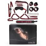 Черно-красный набор БДСМ: наручники, оковы, ошейник с поводком, кляп, маска, плеть, лиф - фото 65775