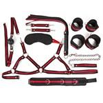 Черно-красный набор БДСМ: наручники, оковы, ошейник с поводком, кляп, маска, плеть, лиф - фото 65774