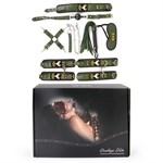 Набор в армейской тематике: наручники, оковы, ошейник с поводком, кляп, маска, плеть, фиксатор - фото 46082