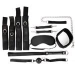 Черный текстильный набор БДСМ: наручники, оковы, ошейник с поводком, кляп, маска, плеть - фото 253784