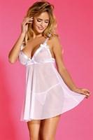 Женственная полупрозрачная сорочка с бантиками на лифе - фото 253800