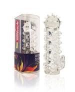 Закрытая прозрачная насадка Crystal sleeve с усиками и пупырышками - 13,5 см. - фото 253864
