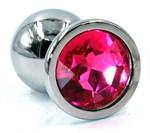 Серебристая анальная пробка с розовым кристаллом - 8 см. - фото 224501