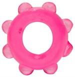 Розовое эрекционное кольцо с шишечками - фото 254500
