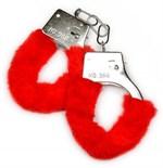 Металлические наручники с красной опушкой и ключиком - фото 1292233