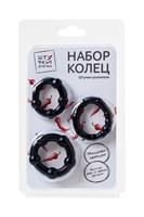 Набор из 3 черных силиконовых эрекционных колец разного размера - фото 1177548