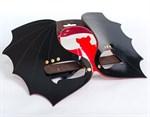 Маска на глаза  Летучая мышь  из черной и красной лаковой кожи - фото 1693369