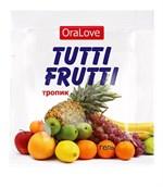 Пробник гель-смазки Tutti-frutti со вкусом тропических фруктов - 4 гр. - фото 349137