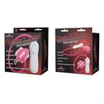 Розовая клиторальная помпа-бабочка с 7 функциями вибрации - фото 1693742
