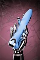 Голубой силиконовый вибратор с электростимуляцией TESLA G-POINT - 21 см. - фото 49283