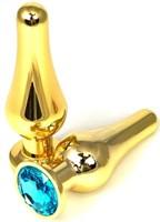 Золотистая удлиненная анальная пробка с голубым кристаллом - 11,5 см. - фото 1293770