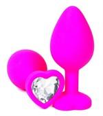 Розовая силиконовая пробка с прозрачным кристаллом-сердцем - 10,5 см. - фото 352897