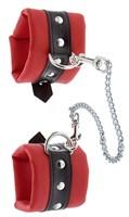 Красно-чёрные наручники на металлической цепочке - фото 1294400