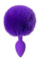 Фиолетовая анальная втулка Sweet bunny с фиолетовым пушистым хвостиком - фото 285687
