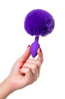 Фиолетовая анальная втулка Sweet bunny с фиолетовым пушистым хвостиком - фото 285691