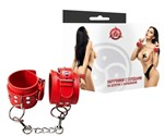 Красные наручники с сердечками на цепочке - фото 55264